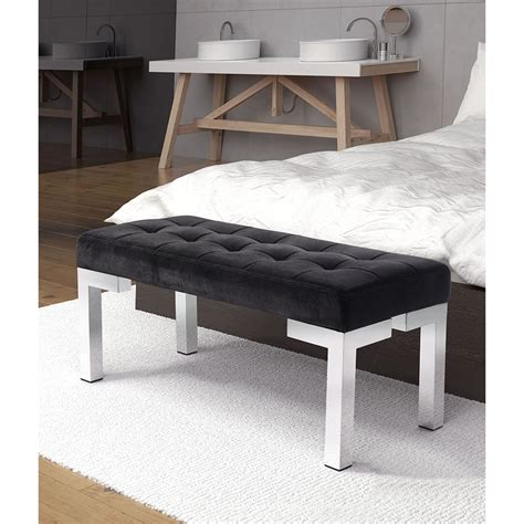 black velvet tufted bench partner bench tufted black velvet dcg stores