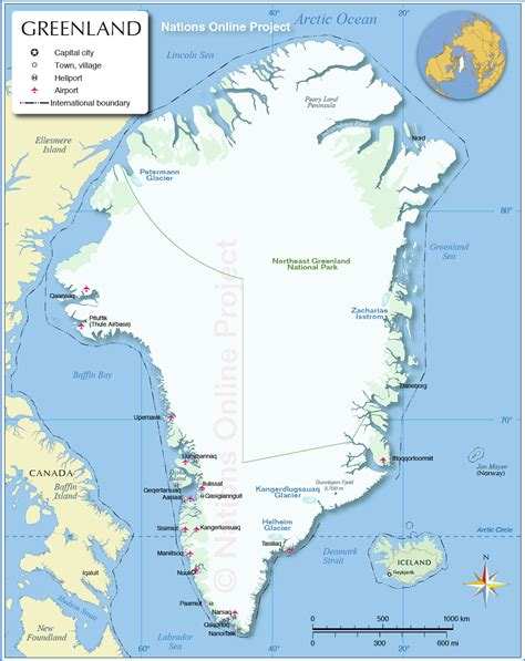 greenland map with cities map of greenland nations project