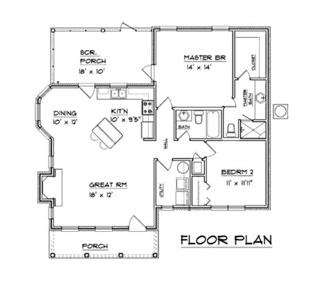 southern style floor plans southern style home one level 1094 sq ft open floor