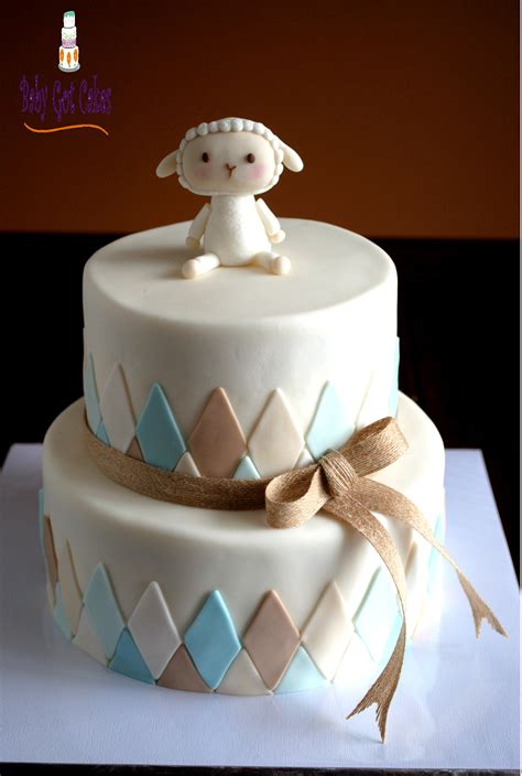 lambsheep baby shower  tier baby shower cakes pinterest lambs babies  lamb baby