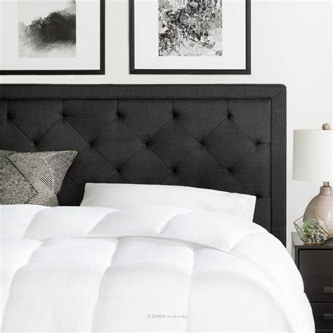 diamond headboard bed brookside upholstered charcoal king with diamond tufting