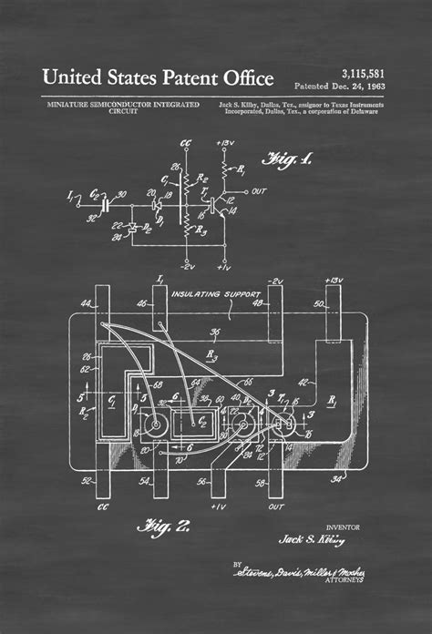 integrated circuit card technology integrated circuit patent 1963 patent prints computer decor vintage computer gift