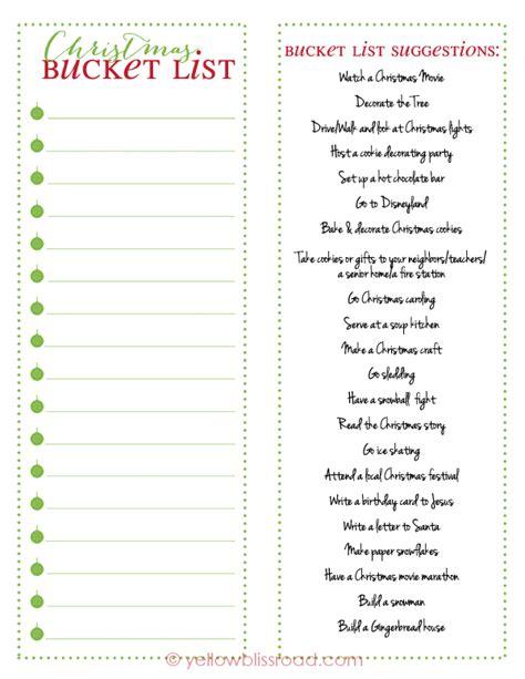 printable christmas bucket list christmas bucket list free printable yellow bliss road