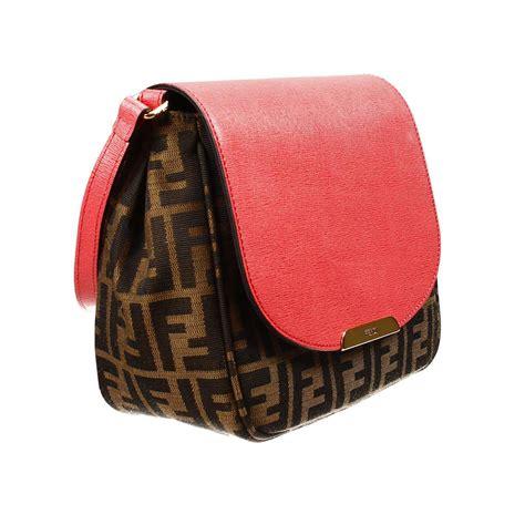 Fendi Coral Pink Embossed Satin Handbag by Lyst Fendi Clutch Bag Zucca Shoulder With Flap Contrast