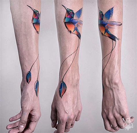 pretty hummingbird with geometric shapes best tattoo