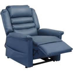 quest power lift lay out chaise recliner blue