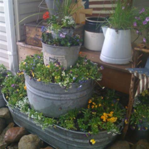 galvanized tub planters