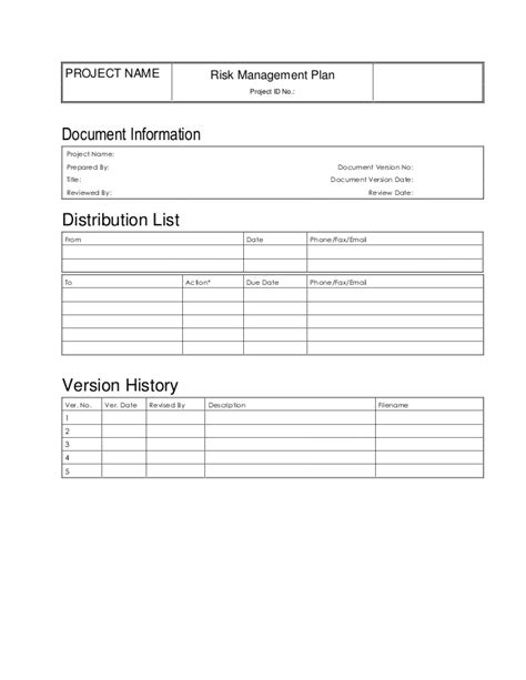 information management plan template risk management plan template doc