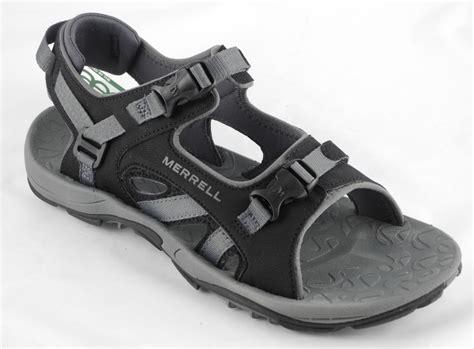 black mens sandals mens merrell river bank sport trail hiking sandals black