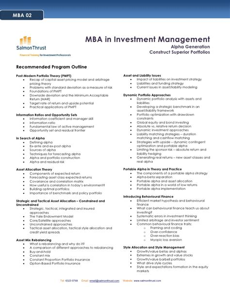 Mba Investment Management by Mba In Investment Management