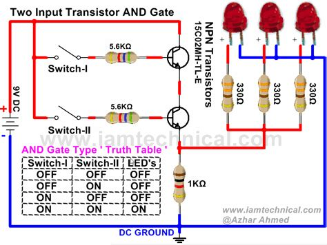 transistor or gate circuit two input and gate using npn transistor iamtechnical