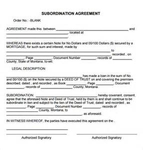 Mortgage Agreement Template sample subordination agreement 7 free documents