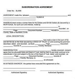 sample subordination agreement 7 free documents