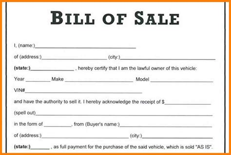 bill of sales template for car 9 bill of sale for cars g unitrecors