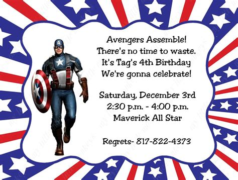 american themed party quotes 10 captain america invitations with envelopes free return