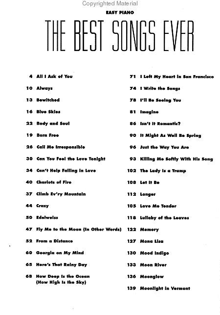 best songs the best songs 6th edition easy piano sheet