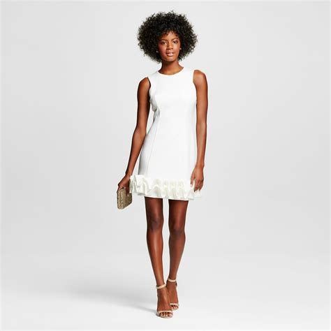 Hem Nevada White M s scuba ruffle hem sheath dress white m by maia