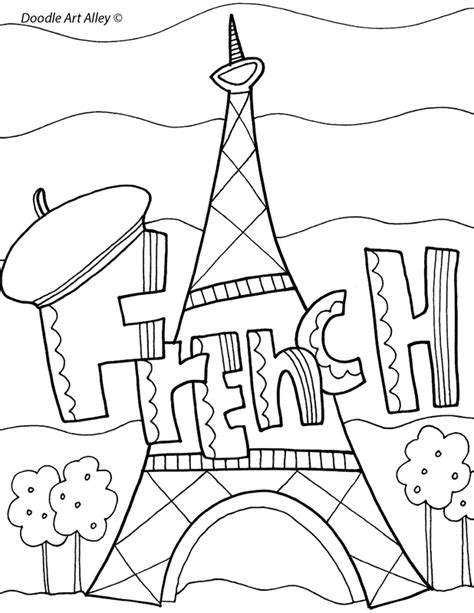 coloring pages school subjects french book cover plus others classroom displays