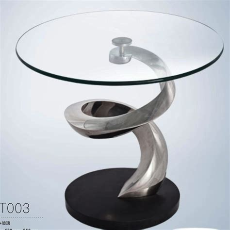 Side Table Rotating Glass Coffee Table For Home Hotel Rotating Glass Coffee Table