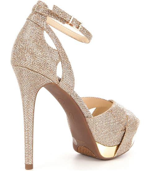 Wedges Emboss Glitter Flare Dress lyst wendah metallic glitter platform dress sandals in metallic