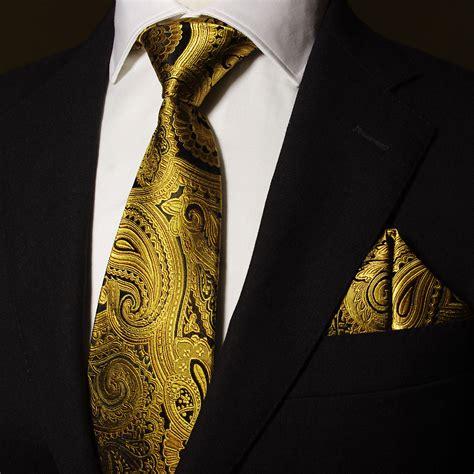 gold pattern ties luxury classic ptah atum piece silk tie set male gold