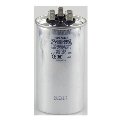 capacitor 7 mfd tradepro 440 volt 60 7 5 mfd dual motor run capacitor tpr6075440 the home depot