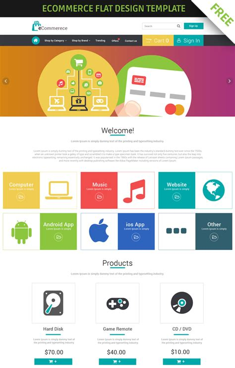 flat design template free free ecommerce flat design template by 123creative on