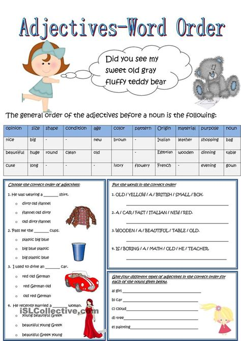 Order Of Adjectives Worksheet Pdf by Best 25 Order Of Adjectives Worksheet Ideas On
