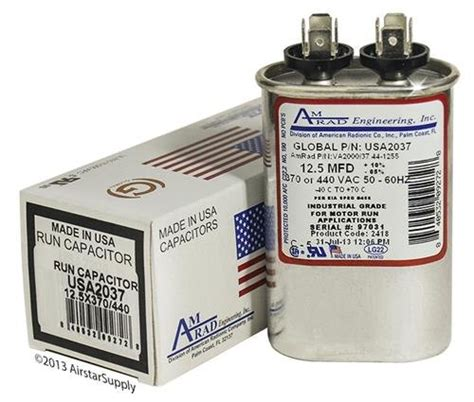ge capacitor z97f9003 ge z97f9003 12 5 uf mfd 370 440 volt vac amrad oval run capacitor made in the u s a materia