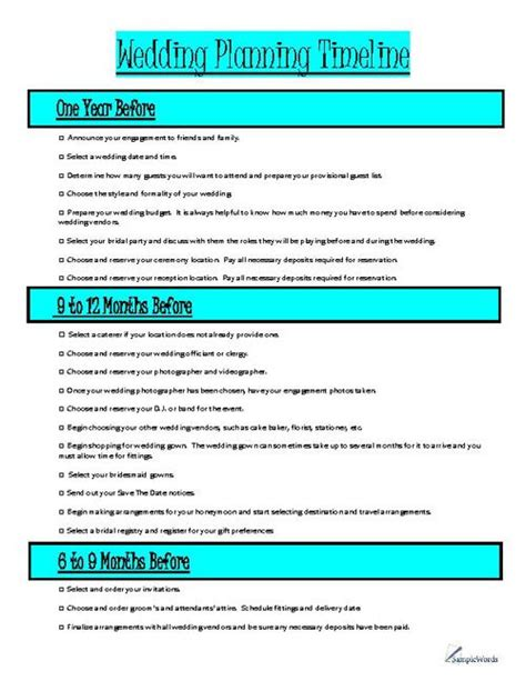 17 Best Ideas About Wedding Planning Timeline On Pinterest Wedding Countdown Wedding Planning Sle Wedding Planner Templates