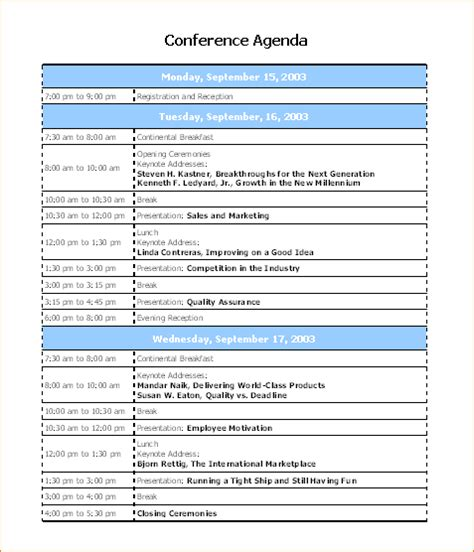 Programme Template For Conference 13 conference program templateagenda template sle