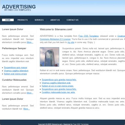 free advertising templates advertising free website templates in css html js format