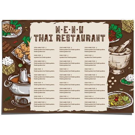 menu thai food template vector 02 vector cover vector
