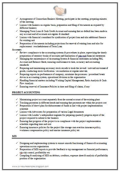 effective resume format for experienced excellent work experience chartered accountant resume