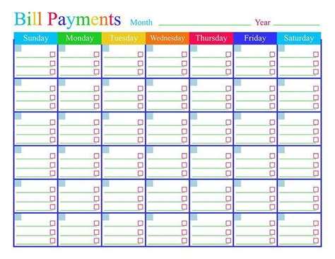 bill calendar template printable bill payments calendar printable the digital shop
