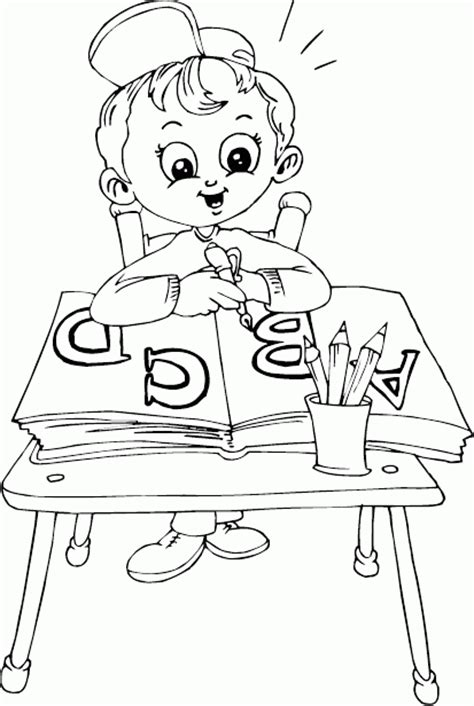 Coloring Desk For by Schoolboy Sitting At Desk Coloring Page Coloring