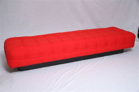 red upholstered bench long red tufted upholstered bench at 1stdibs