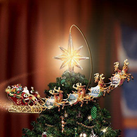 thomas kinkade holidays  motion rotating lighted tree topper santa sleigh reindeer animated
