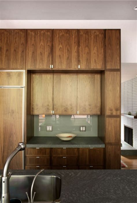 detail of recessed wall cabinet with suspended vanity
