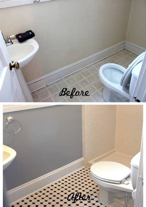 Bathroom reveal turning a ugly half bath into a charming full bath
