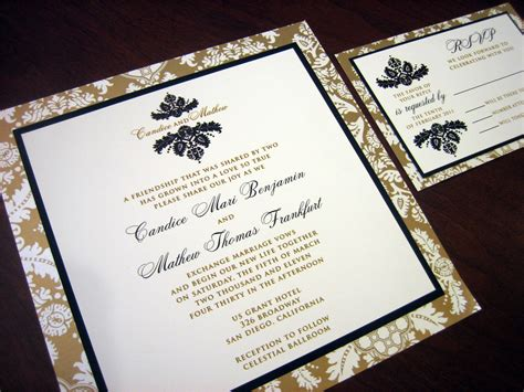 Wedding Invitations Black And Gold by Black And Gold Wedding Invitation With Brocade Design A