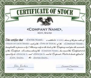 Printable Stock Certificate Template by Stock Certificate Template Cyberuse