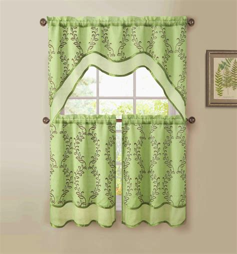 everwood embroidered sheer kitchen curtain tiers swag