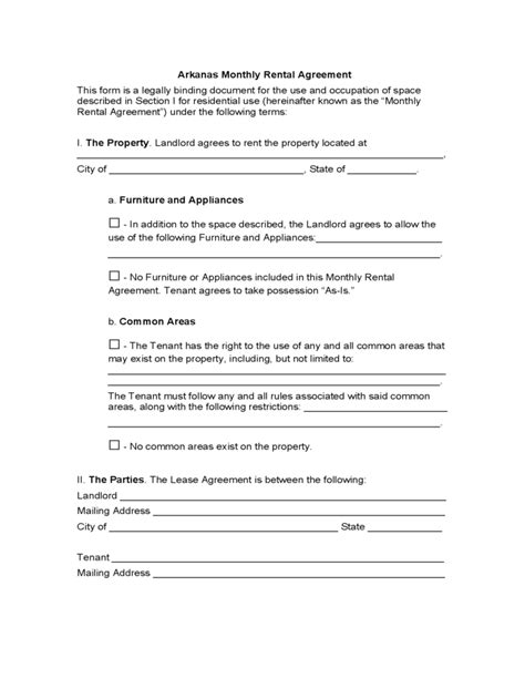 free printable lease agreement arkansas arkansas month to month lease agreement free download