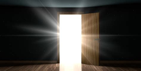 Doors Light by Light And Particles In A Room Through The Opening Door By