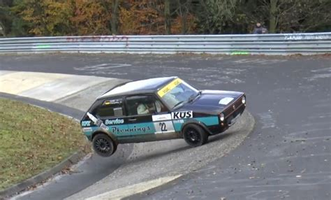 opel old old golf gti and opel kadett crash at the nurburgring s