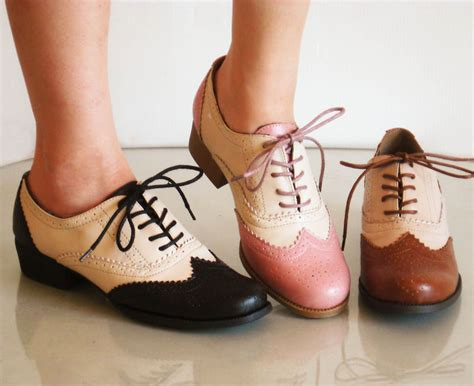 womens spectator shoes flats comfy classic brogued spectator lace up oxfords l heels