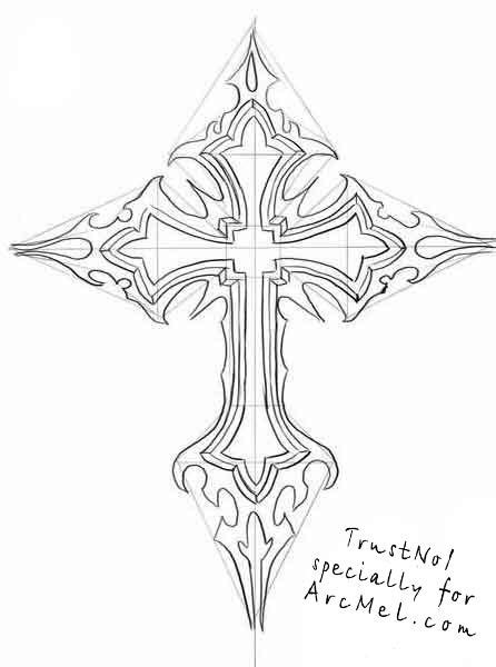 how to draw a cross tattoo how to draw a cross step 5 tony s