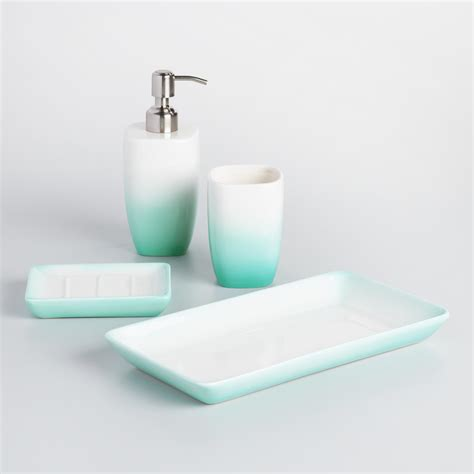 Aqua Ombre Ceramic Bath Accessories Collection World Market Aqua Bathroom Accessories Sets