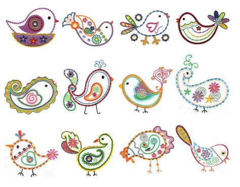paisley birds feathers machine embroidery designs